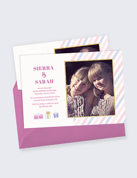Twin Birthday Invitation Download