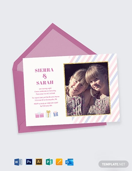 Twin Birthday Invitation Template