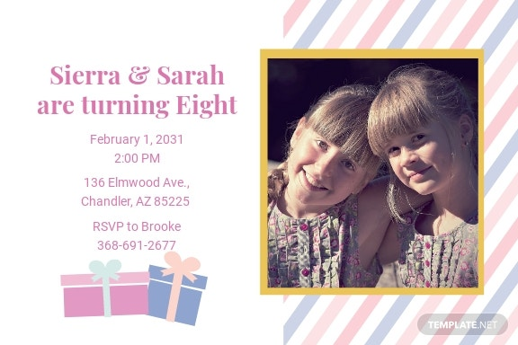 Twin Birthday Invitation Template [Free JPG] - Illustrator, Word, Outlook, Apple Pages, PSD, Publisher