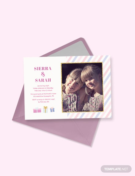 twin birthday invitation