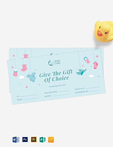 Baby Children Gift Voucher Template