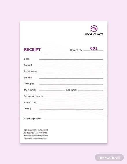 Massage Receipt Template