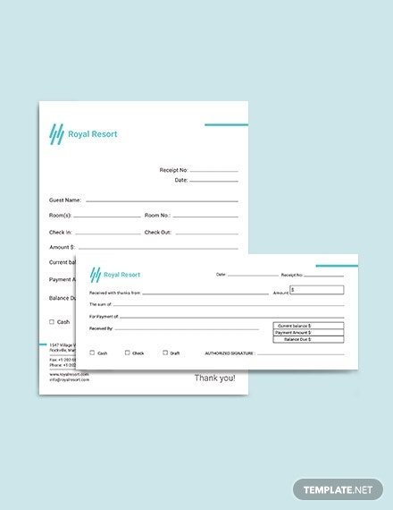 Royal Resort Receipt Template