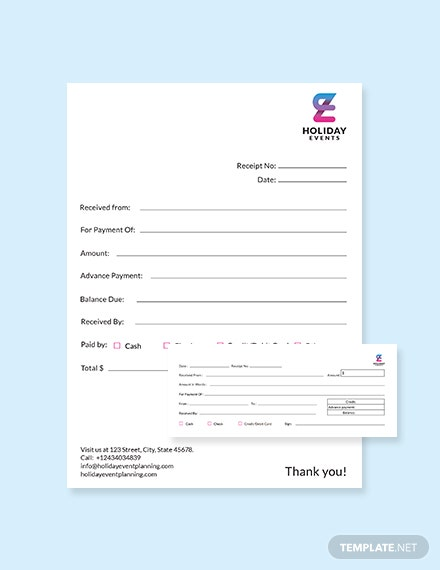Event Planner Receipt Template