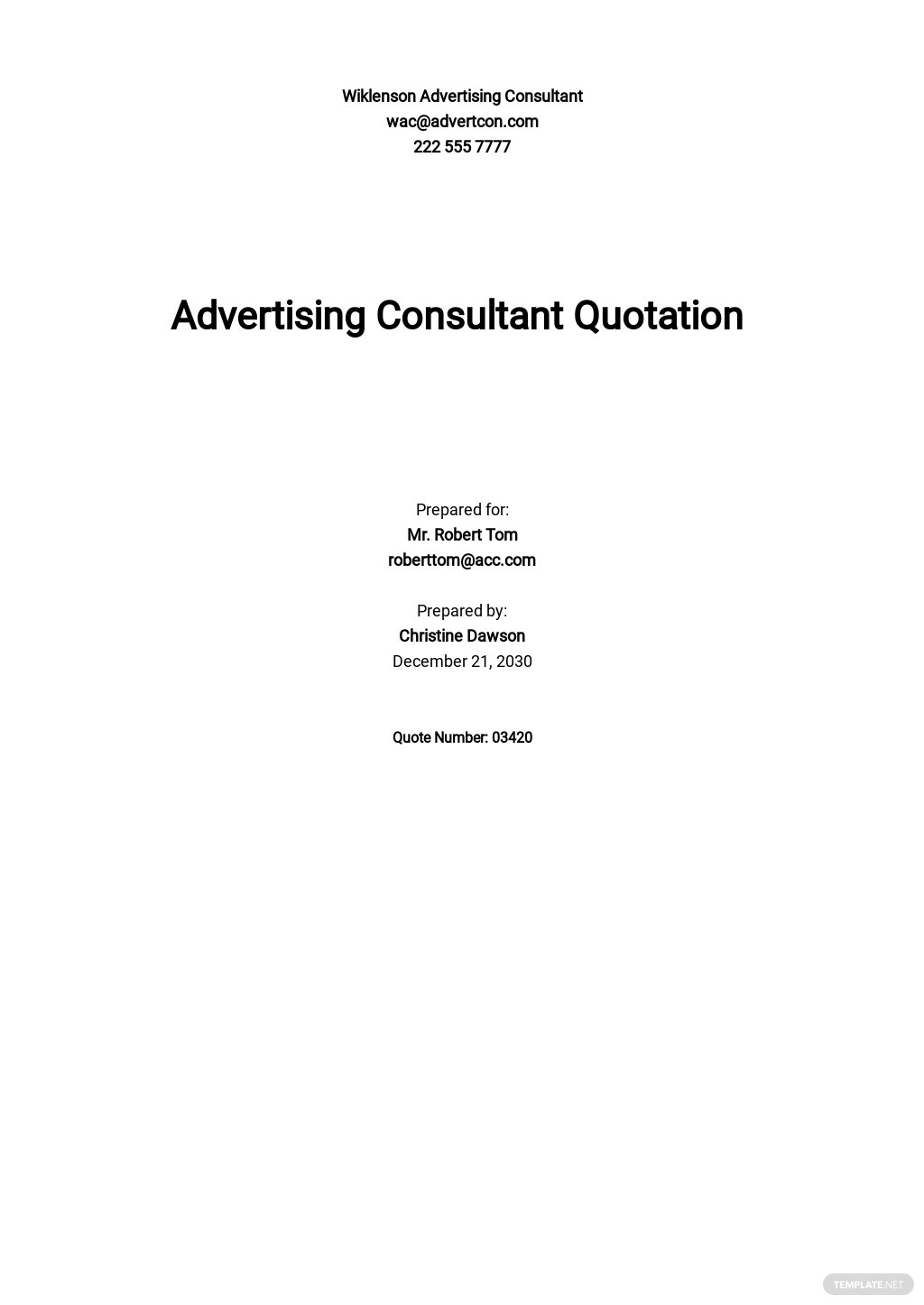 Advertising Consultant Quotation Template