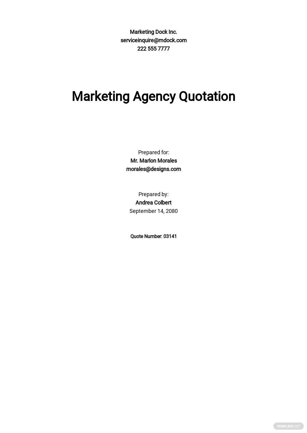 Marketing Agency Quotation Template