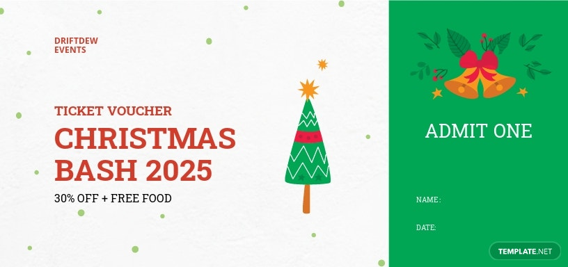 Christmas Ticket Voucher Template [Free JPG] - Illustrator, Word, Apple Pages, PSD, Publisher