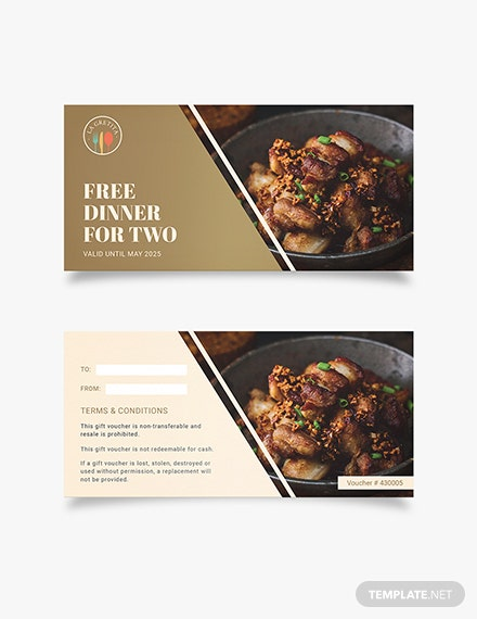 dinner Gift Voucher Download