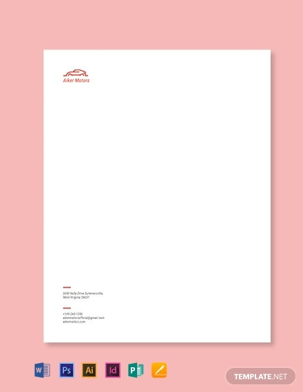 Auto Dealers Letterhead Template
