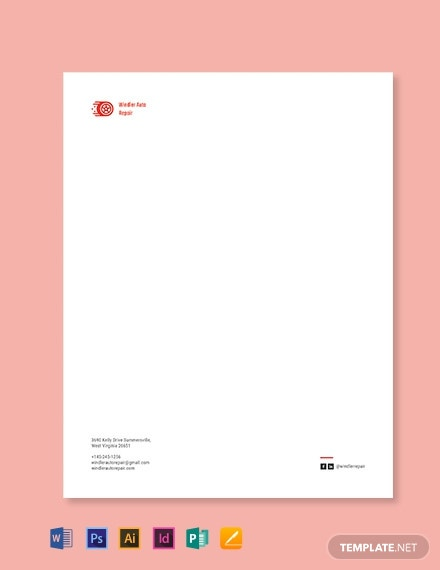 Auto Repair Letterhead template