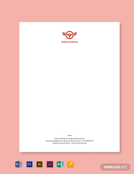 Automotive Business Letterhead Template