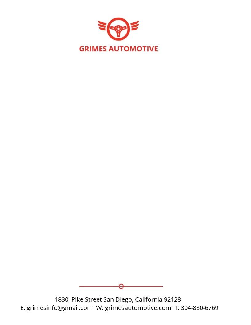 Automotive Business Letterhead Template