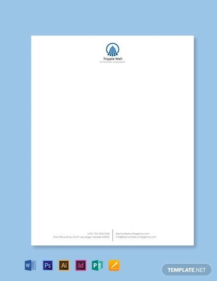 Building Construction Letterhead Template