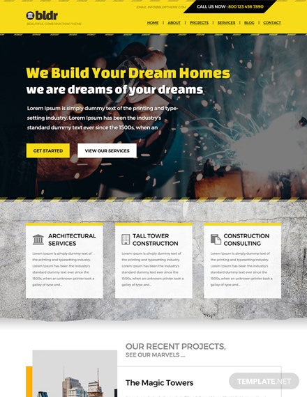 Free Construction Company PSD Website Template