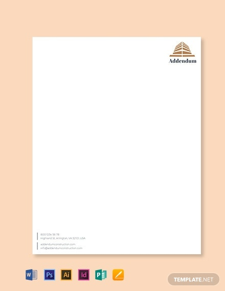 Free Construction Letterhead Template Word Doc Psd