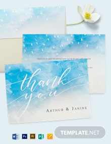 Beach Wedding Thank You Card template