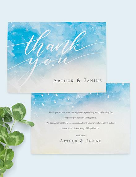 Sample Beach Wedding Thank You Card