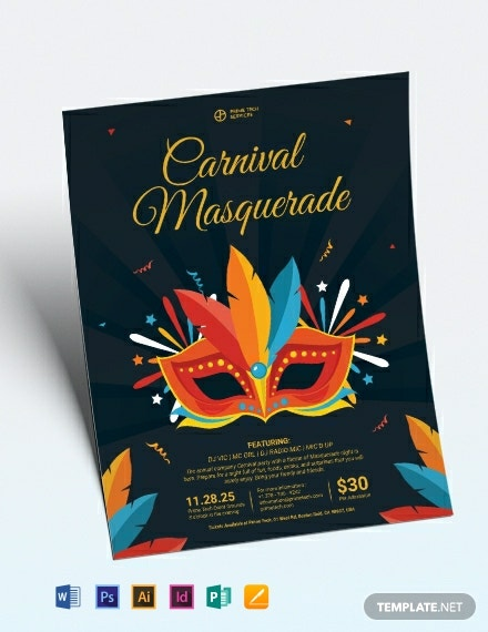 carnival masquerade party flyer template 440x570 1