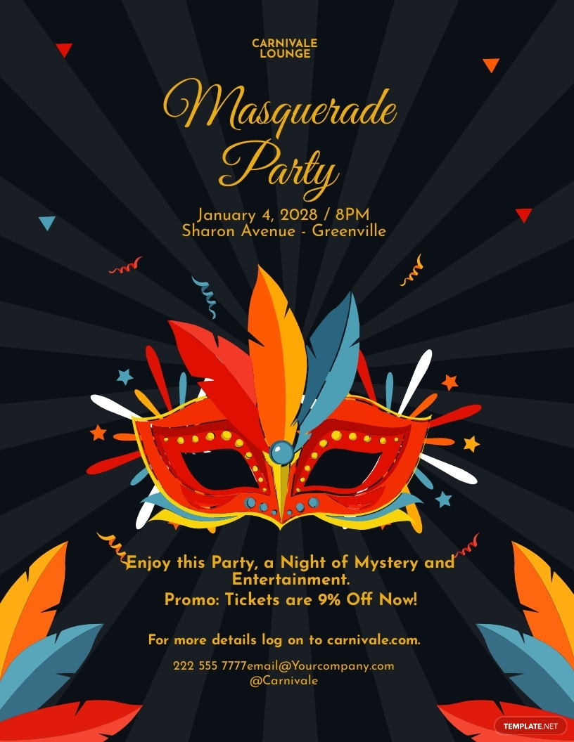 Carnival Masquerade Party Flyer Template.jpe
