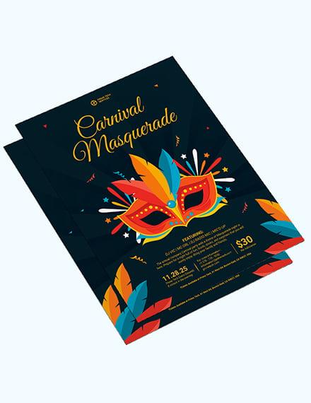 Sample Carnival Masquerade Party Flyer
