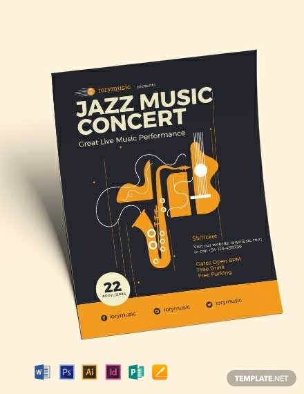 jazz concert flyer template 440x570 1