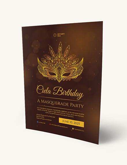 Masquerade Birthday Party Flyer Download