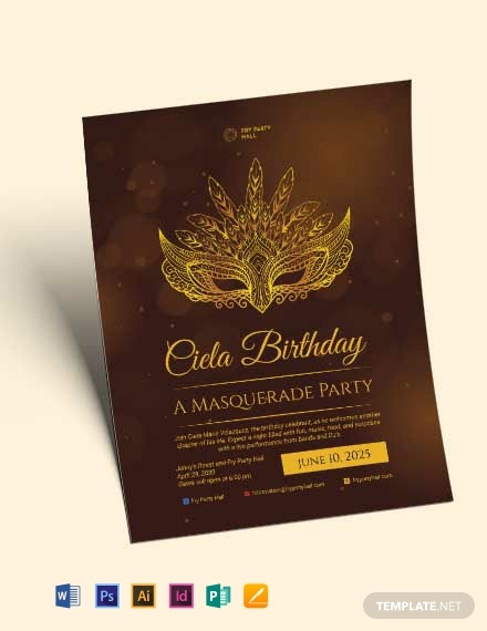 masquerade birthday party flyer template 440x570 1