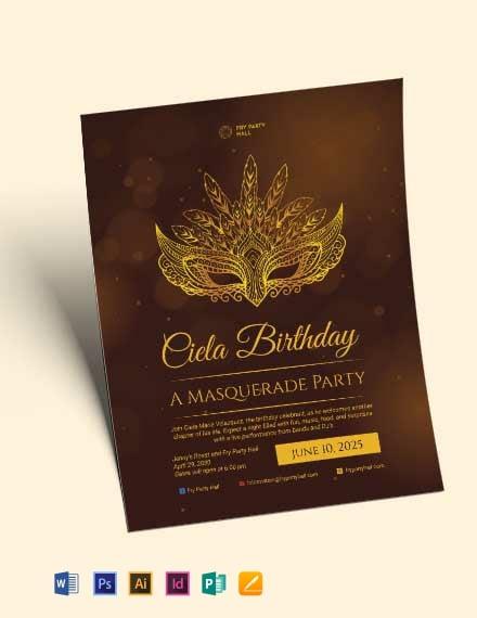 masquerade birthday party flyer template 440x570 1