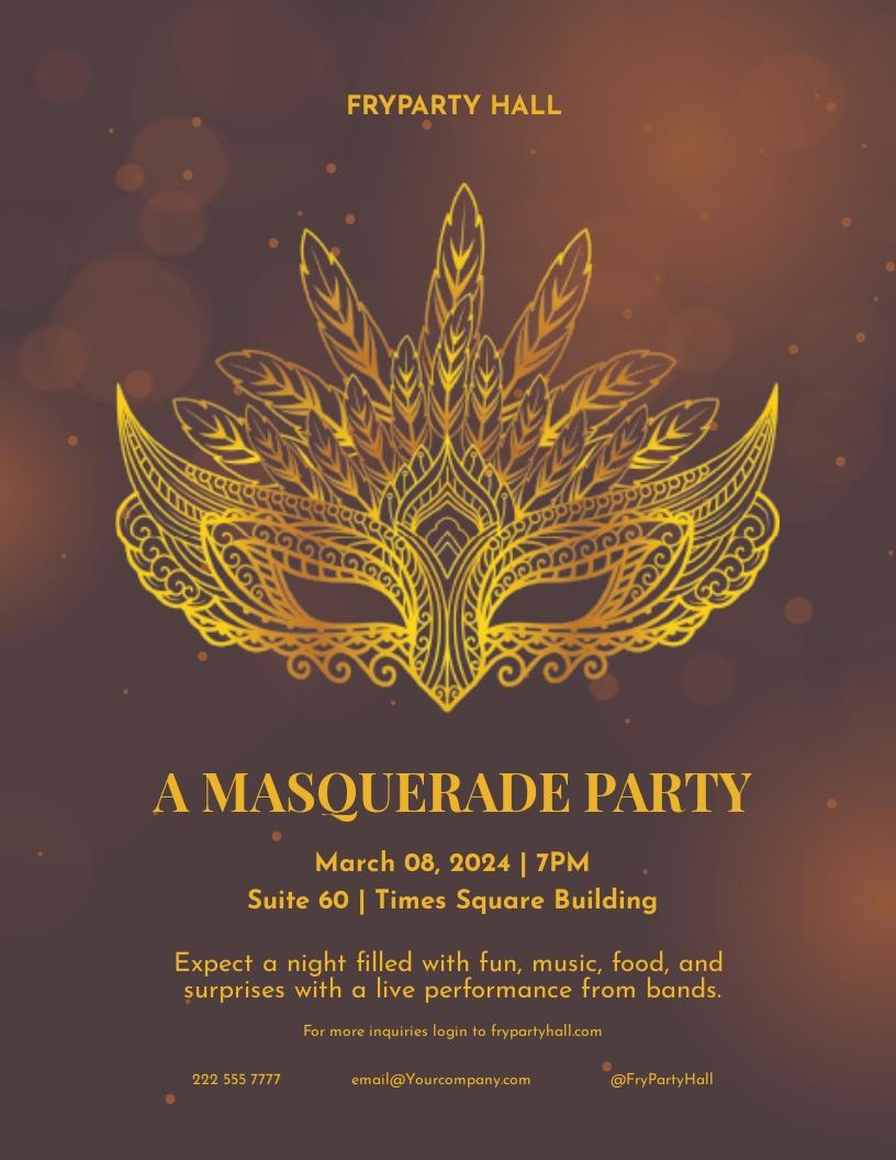 Masquerade Birthday Party Flyer Template