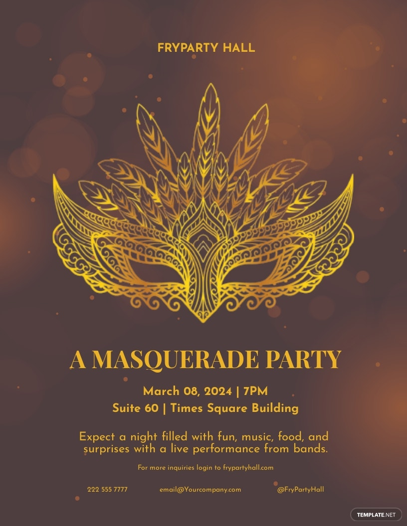 Masquerade Birthday Party Flyer Template.jpe