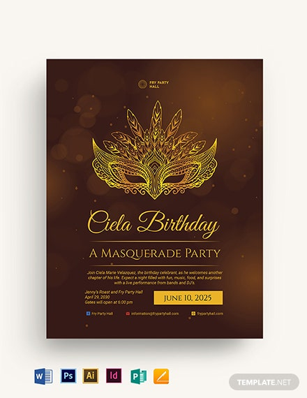 Masquerade Birthday Party Flyer Template