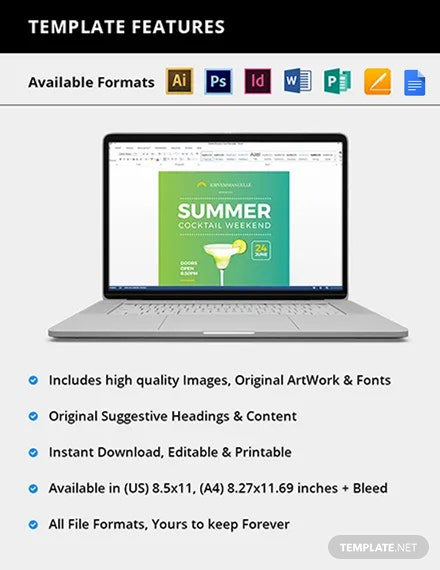Editable Summer Cocktail Party Flyer