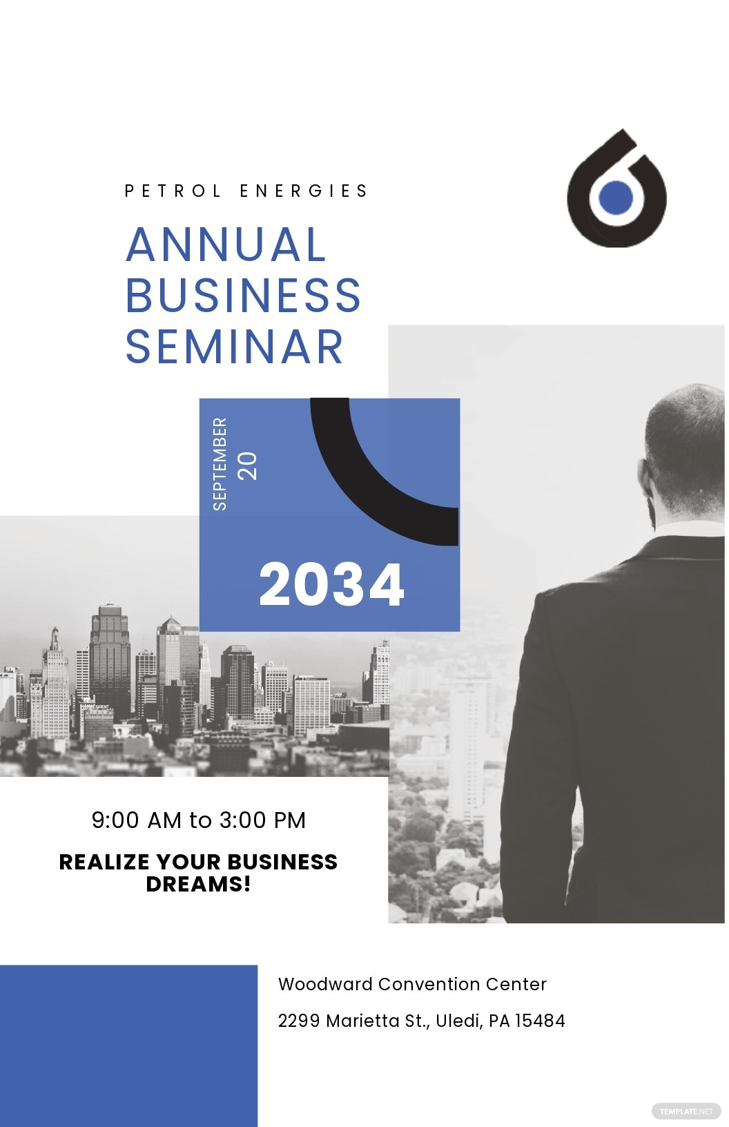Business Seminar Poster Template [Free JPG] - Illustrator, Apple Pages, PSD