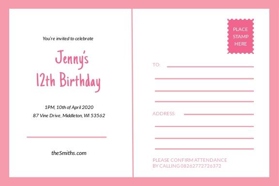 Birthday Invitation Postcard Template 1.jpe