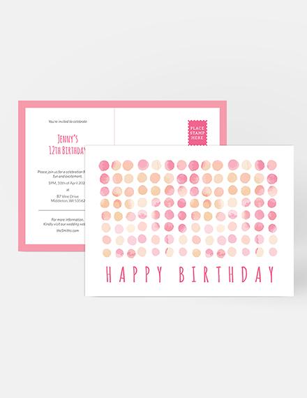 Sample Birthday Invitation Postcard