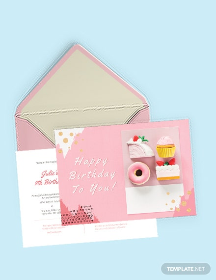 Birthday Party Postcard Template