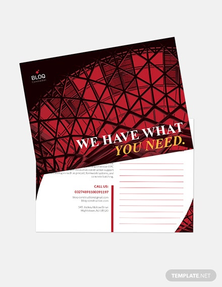 Construction Business Postcard Download