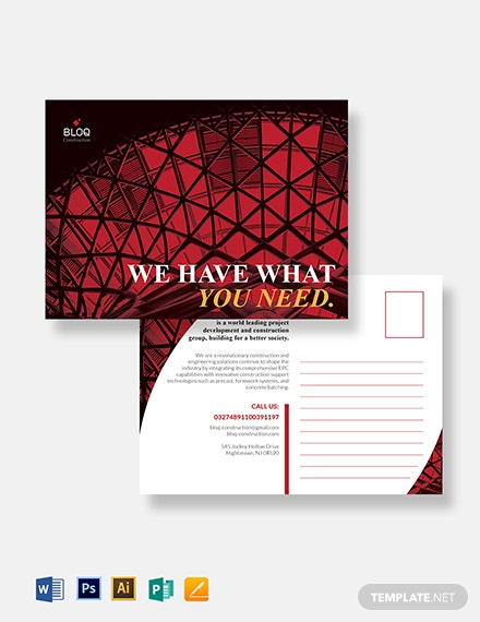 Construction Business Postcard Template