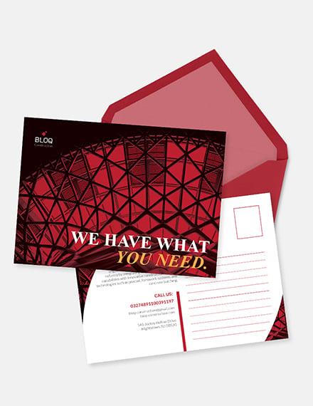 Sample Construction Business Postcard