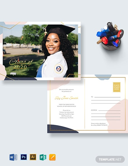 Graduation Announcement Postcard Template