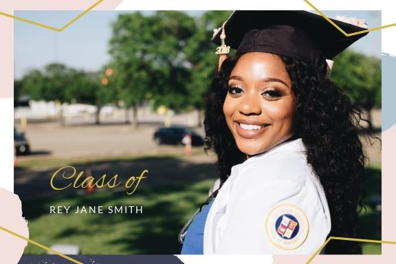 Graduation Announcement Postcard Template