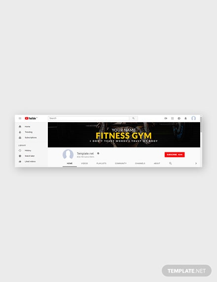 Free Fitness Gym YouTube Channel Template