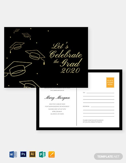 Graduation Invitation Postcard Template