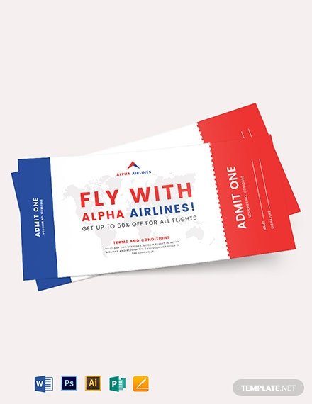 Plane Ticket Voucher Template