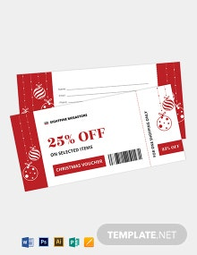 Christmas Boarding Pass Ticket Voucher Template