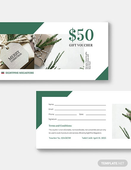 Sample Christmas Gift Voucher Card