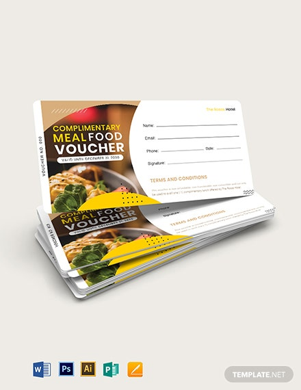 Complimentary Meal Food Voucher Template