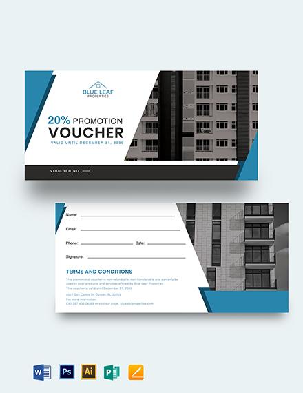 Real Estate Promotion Voucher Template