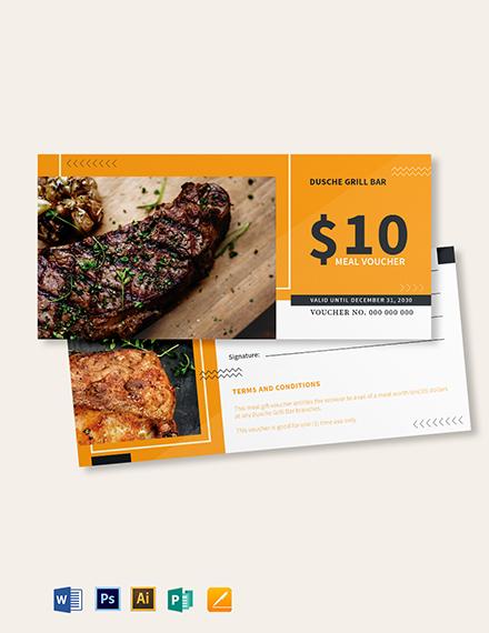 $10 food Voucher Template