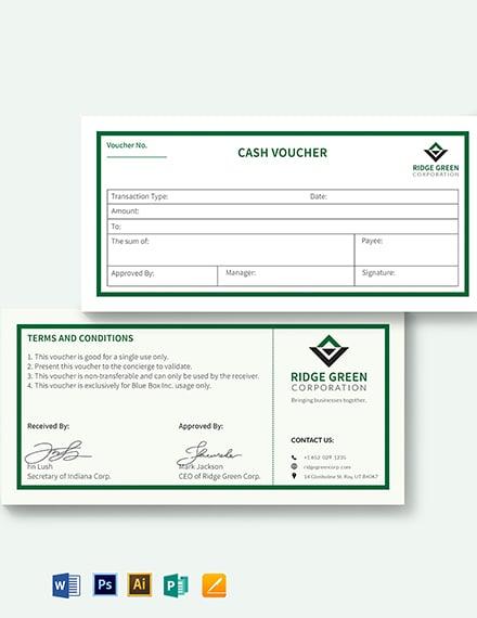 Business Cash Voucher Template